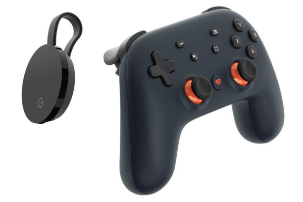 The Google Chromecast dongle and Stadia controller